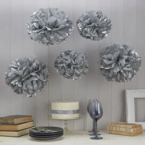 bruiloft-decoratie-pompom-set-zilver-vintage-lace