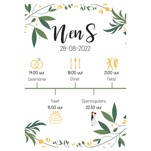 bruiloft-decoratie-programma-poster-flowers