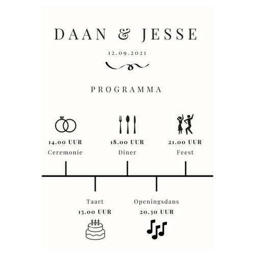 bruiloft-decoratie-programma-poster-modern
