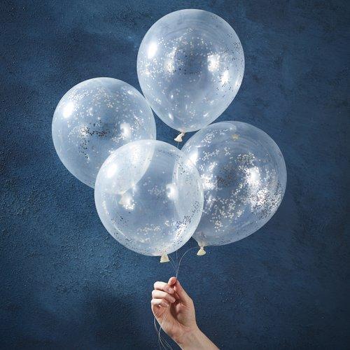 bruiloft-decoratie-confetti-ballonnen-silver-glitter-star-christmas-night