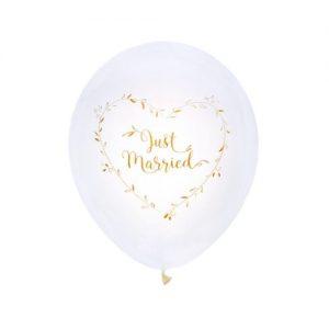 bruiloft-decoratie-ballonnen-just-married-white-gold