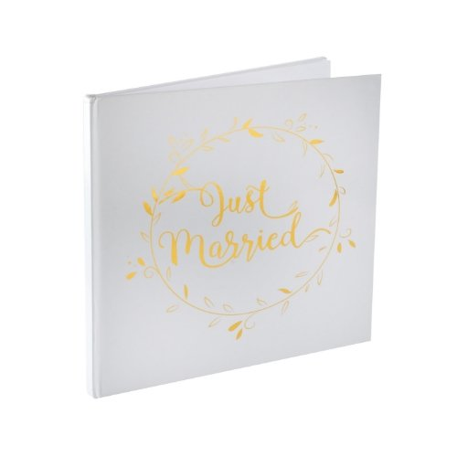 bruiloft-decoratie-gastenboek-just-married-white-gold