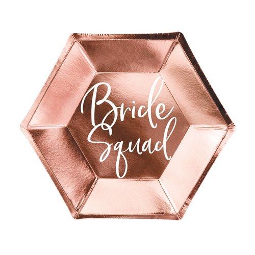 bruiloft-decoratie-papieren-bordjes-bride-squad-rosegoud