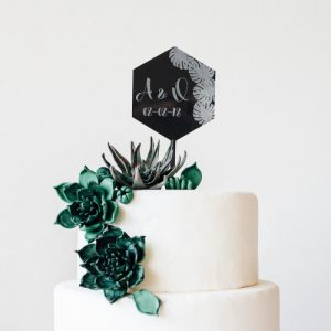 bruiloft-decoratie-taarttopper-monstera-zwart-gepersonaliseerd