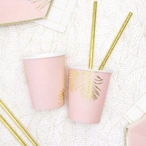 bruiloft-decoratie-papieren bekertjes-leaves-light-pink-2
