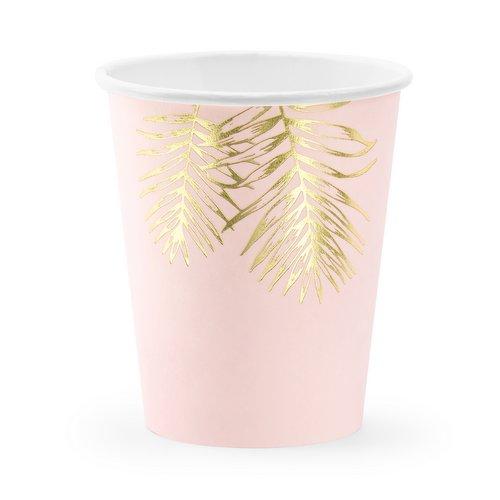 bruiloft-decoratie-papieren bekertjes-leaves-light-pink