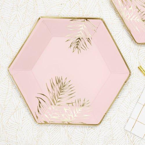bruiloft-decoratie-papieren bordjes-leaves-light-pink-2