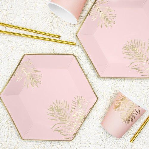 bruiloft-decoratie-papieren bordjes-leaves-light-pink-3