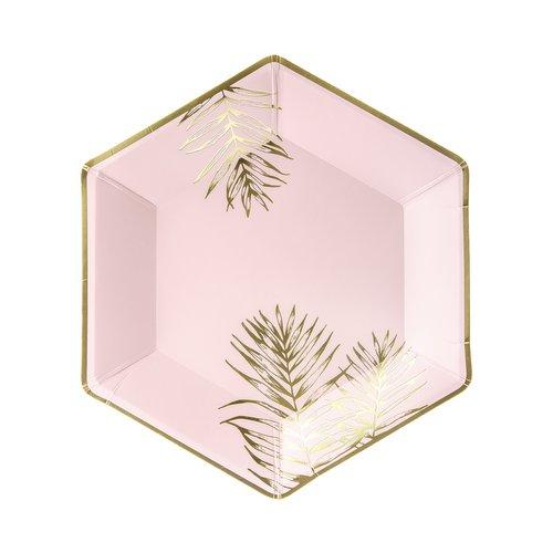 bruiloft-decoratie-papieren bordjes-leaves-light-pink