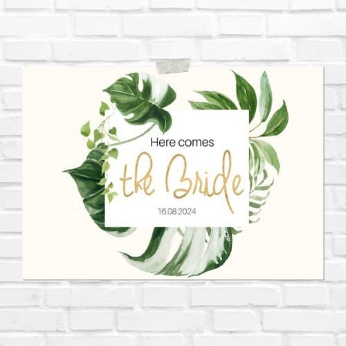 bruiloft-decoratie-blad-here-comes-the-bride-gold-greenery-eng