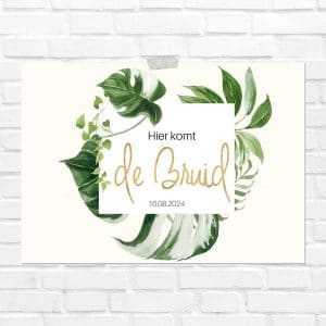 bruiloft-decoratie-blad-here-comes-the-bride-gold-greenery-nl