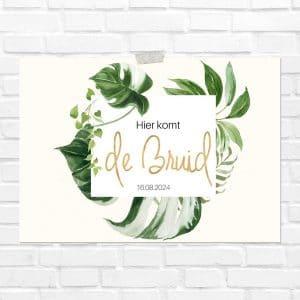 bruiloft-decoratie-blad-here-comes-the-bride-gold-greenery-nl