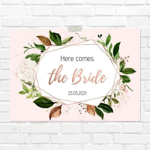 bruiloft-decoratie-blad-here-comes-the-bride-rose-gold-greenery-eng