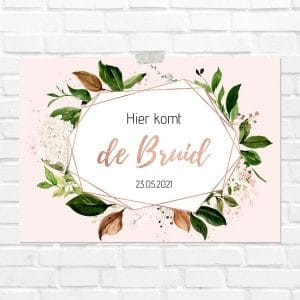 bruiloft-decoratie-blad-here-comes-the-bride-rose-gold-greenery-nl