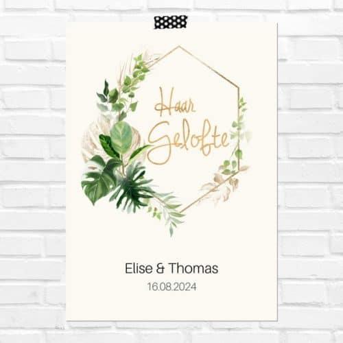 bruiloft-decoratie-geloften-blad-haar-gelofte-gold-greenery-nl
