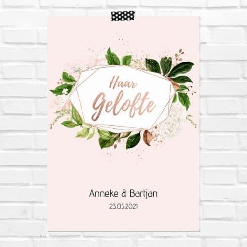 bruiloft-decoratie-geloften-blad-haar-gelofte-rose-gold-greenery-nl