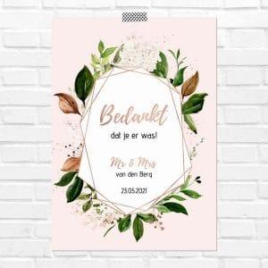 bruiloft-decoratie-poster-bedankjes-rose-gold-greenery-nl
