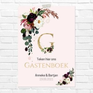 bruiloft-decoratie-poster-gastenboek-burgundy-rose-nl