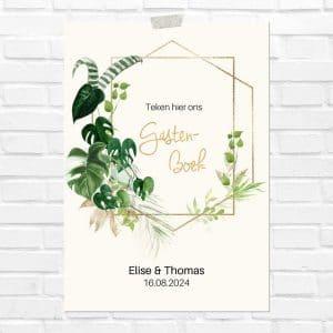 bruiloft-decoratie-poster-gastenboek-gold-greenery-nl
