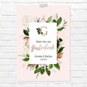 bruiloft-decoratie-poster-gastenboek-rose-gold-greenery-nl