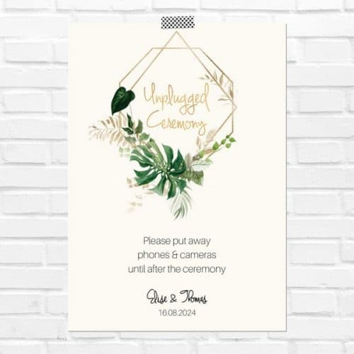 bruiloft-decoratie-poster-unplugged-ceremony-gold-greenery-eng