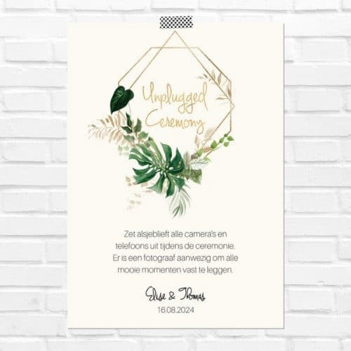 bruiloft-decoratie-poster-unplugged-ceremony-gold-greenery-nl