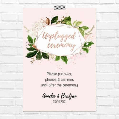bruiloft-decoratie-poster-unplugged-ceremony-rose-gold-greenery-eng