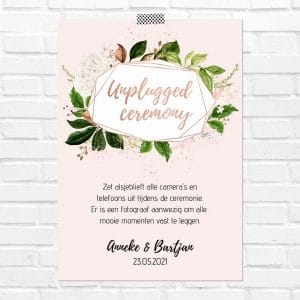bruiloft-decoratie-poster-unplugged-ceremony-rose-gold-greenery-nl