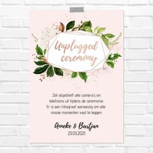 bruiloft-decoratie-poster-unplugged-ceremony-rose-gold-greenery-nl