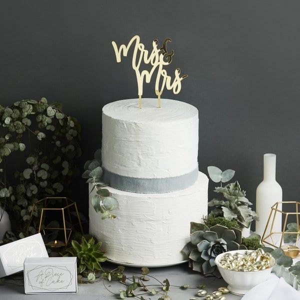 bruiloft-decoratie-homohuwelijk-acryl-cake-topper-mrs-mrs-geometric-greenery