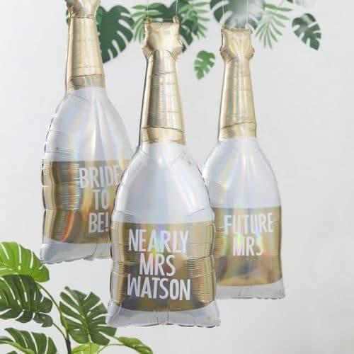 vrijgezellenfeest-versiering-folieballonnen-champagnefles-botanical-hen-gepersonaliseerd